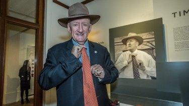 Tim Fischer at an exhibition at the Museum of Australian Democracy in June.