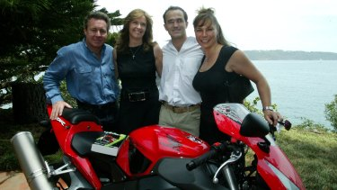 Wayne Gardner, Donna and Johnny Kahlbetzer and Gardner's then-wife, Toni, at Windemere, Vaucluse.