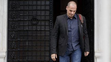 Yanis Varoufakis leaves Maximos Mansion, the residence of the Greek prime minister, in Athens in June.