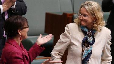 Melissa Parke is congratulated after her valedictory speech.