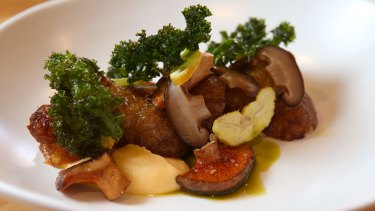 Tulip's slow-cooked jerusalem artichokes, pine mushrooms, swede and chestnuts.