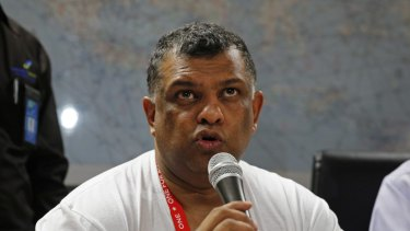 AirAsia chief executive Tony Fernandes at a news conference about the missing plane.