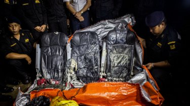 Recovered seats from the AirAsia plane.