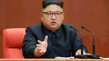 North Korean leader Kim Jong Un speaking during a meeting of the central committee of the Workers' Party of Korea in Pyongyang.