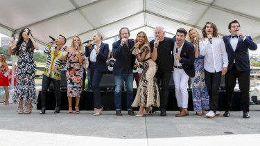 Sony All Stars working the crowd at Thursday's Wharf4Ward lunch at Woolloomooloo.