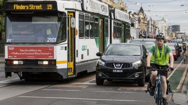 Traffic in Sydney Road, Brunswick.