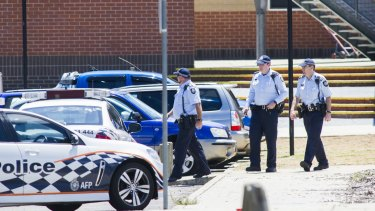 ACT police outside Canberra's Lanyon High School last Tuesday, following a bomb threat.