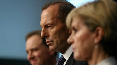 Prime Minister Tony Abbott during a joint press conference with Environment Minister Greg Hunt and Foreign Affairs Minister Julie Bishop at Parliament House in Canberra.