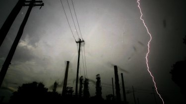 Lightning strikes near the Caltex refinery in Silverwater, in Sydney's west.