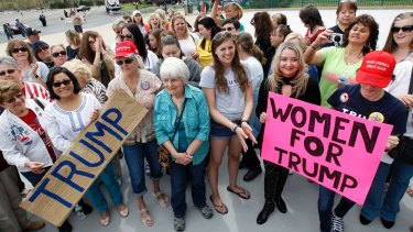 Women show support for Donald Trump in Wilkes-Barre, Pennsylvania in April last year.