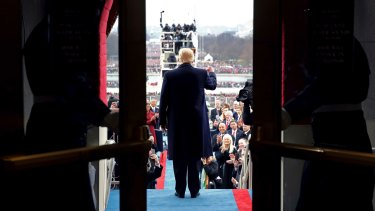 President-elect Donald Trump arrives on the West Front of the Capitol in Washington for his  inauguration in January.