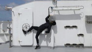 James Batchelor on board the marine research vessel Investigator.