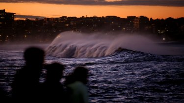 Waves roll in at Shelly Beach on Sydney's northern beaches during the recent storm.