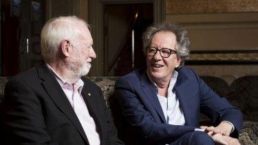 Film critic David Stratton, left and actor Geoffrey Rush in <i>David Stratton: A Cinematic Life<i/i>.