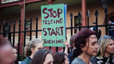 Students protest NAPLAN at NSW Parliament last year.