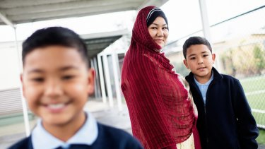 Shahida Doostizadah says her sons Hur, 9 (left), and Mubashar, 10, are getting top marks at Dandenong North Primary School.