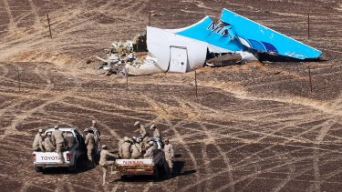 Wreckage at the site of the plane crash on the Sinai Peninsula.