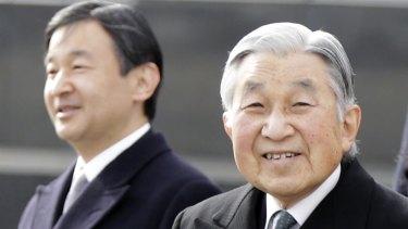 Emperor Akihito with his son, Crown Prince Naruhito.