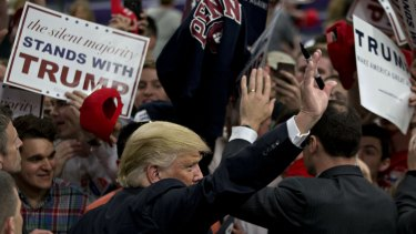 Donald Trump greets fans in West Chester, Pennsylvania.