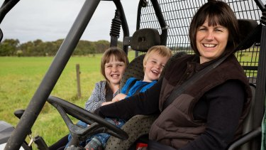 Marian Macdonald, Sth Gippsland dairy farmer with her kids.