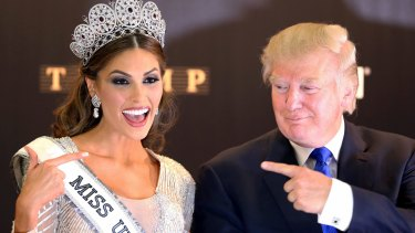 Miss Venezuela 2013, Gabriela Isler, poses with Miss Universe organiser Donald Trump after the Grand Finale held at the Crocus City hall in Moscow.