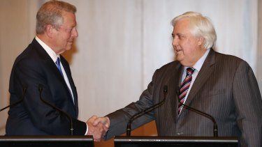 Fairfax MP Clive Palmer with former US vice president Al Gore  Photo: Alex Ellinghausen
