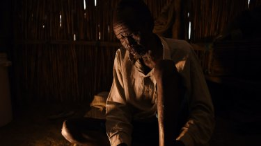 James Tut in a church where he is living inside the UN Bentiu Protection of Civilians (POC) site.