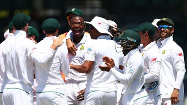 Kagiso Rabada of South Africa celebrates the wicket of Mitch Marsh at the WACA.
