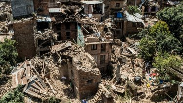 Collapsed buildings in Sankhu, Nepal, after the earthquake.