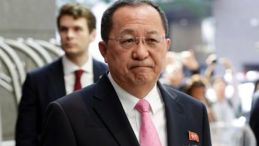 North Korea's Foreign Minister Ri Yong-ho speaks to the media in New York.