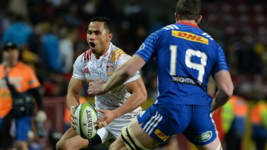 On the attack: Anton Lienert-Brown runs the ball up for the Chiefs in Cape Town.