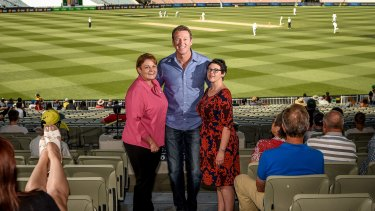 Glenn McGrath with breast cancer patient Erin Wood and breast care nurse Michell Hamblin (left).