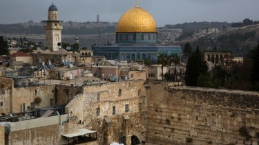 A view of the Western Wall and the Dome of the Rock, some of the holiest sites for for Jews and Muslims, in Jerusalem's Old City.