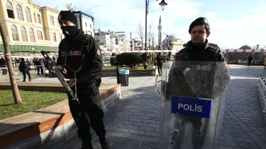Police secure the historic Sultanahmet district after the explosion.