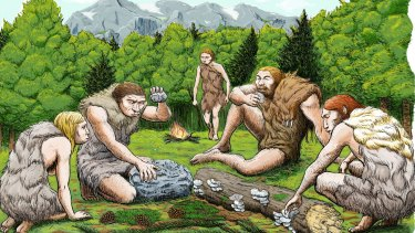 This drawing shows mostly vegetarian Spanish Neanderthals munching on mushrooms, pine nuts and moss.
