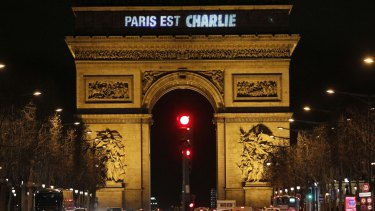 "The message ""Paris is Charlie"" is projected on the Arc de Triomphe in Paris."