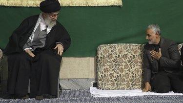Major-General Qassem Soleimani, right, greets Iran's Supreme Leader, Ayatollah Ali Khamenei, earlier this year.