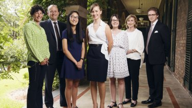 Katrina Dawson Foundation scholarship recipients Angie Lu, Kate Field and Catherine Priestly, pictured with Nikki Dawson, Paul Smith, Jane Dawson and Sandy Dawson at the Women's College of Sydney University.