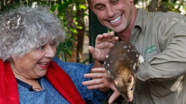Pleased to meet you: Actor Miriam Margolyes meets a  threatened tiger quoll at Featherdale Wildlife Park in Doonside.