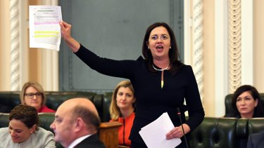 Queensland Premier Annastacia Palaszczuk in parliament on Tuesday.