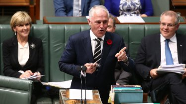 Prime Minister Malcolm Turnbull during question time on Monday.