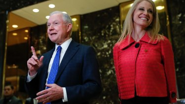 Senator Jeff Sessions and Kellyanne Conway, campaign manager for President-elect Donald Trump on Thursday.