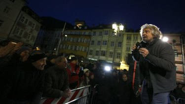 Beppe Grillo, comedian-turned-politician and leader of the 5-Star Movement, speaks during an election campaign rally in Trento, Italy.