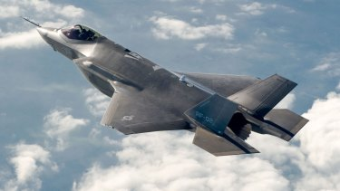 A F-35 stealth fighter; Trump vowed to spend more on defence if elected.