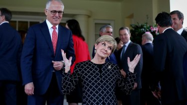 Prime Minister Malcolm Turnbull and Minister for Foreign Affairs Julie Bishop on the front steps of Government House.