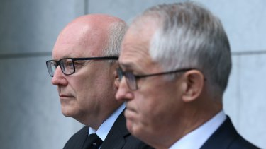 Attorney-General Senator George Brandis, pictured with Mr Turnbull on Tuesday, is among those suggested to be in line for a shift.