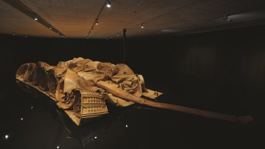He Xiangyu's Tank Project is made from the brown leather used for Italian designer-label handbags.