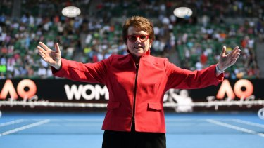 Billie Jean King is seen on centre court during the women of the year award after the womens semifinal match on day eleven at the Australian Open tennis tournament, in Melbourne, Australia, Thursday January 25, 2018