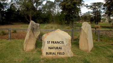 The natural burial field at Kemps Creek Cemetery in Sydney.
