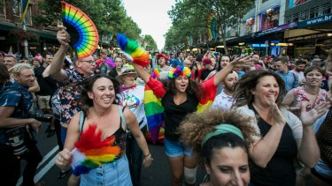 Yes voters celebrate the same-sex marriage postal survey outcome on Oxford Street in Sydney last week.